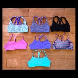 Lot of seven Girls Ivivva Sports Bra Tops size 10